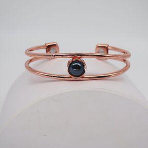 Rose Gold Tone Magnetic Hematite Bangle Bracelet